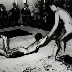 Performance of Yves Klein's Anthropométries de l'époque bleue [Anthropometries of the Blue Epoch], Galerie Internationale d'art contemporain, Paris, March 9, 1960. © 2010 Artists Rights Society (ARS), New York/ADAGP, Paris. Photo by Shunk-Kender, © Roy Lichtenstein Foundation. Courtesy Yves Klein Archives