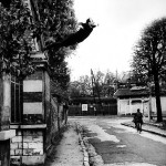 Yves Klein, Le Saut dans le vide [Leap into the Void], at 5, rue Gentil-Bernard, Fontenay-aux-Roses, France, October 1960. © 2010 Artists Rights Society (ARS), New York/ADAGP, Paris. Photo by Shunk-Kender, © Roy Lichtenstein Foundation. Courtesy Yves Klein Archives